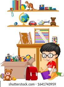 Shelf and box full of toys on white background illustration