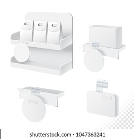 Shelf with boxes and blank wobbler. Wobbler with transparent strip collection isolated on white background. Vector illustration