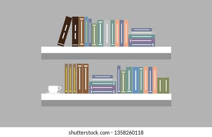 Shelf with colorful books on it with flat color design. Minimalistic style vector illustration.