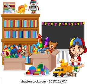 Shelf full of books and toys on white background illustration