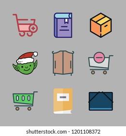 shelf icon set. vector set about shopping cart, closet, file storage and elf icons set.