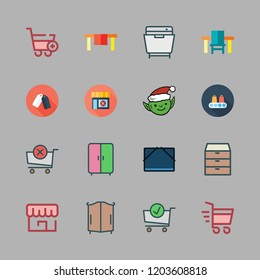 shelf icon set. vector set about shopping cart, file storage, drawers and elf icons set.