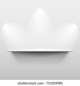 Shelf on the wall with light and shadow in empty white room