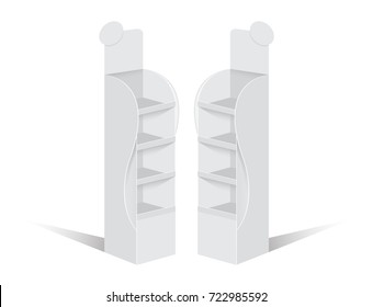 Shelf Stand Display with Pop up Rack For Supermarket Blank Empty Display.Vector illustration