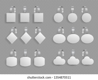 Shelf wobbler. Supermarket sale promotion pointing price sign. tag market shelves. Sales white point tags paper round square diamond ellipse wobblers for store shelf vector isolated realistic 3d set