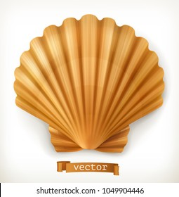 Shell. Clam, oyster 3d vector icon
