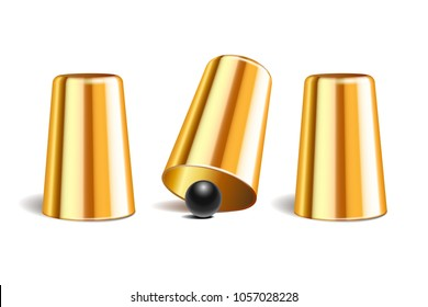 Shell game. Three shining metal gold thimbles and black ball. Equipment performance circus show. Chance and fortune concept. Vector illustration isolated on white background.