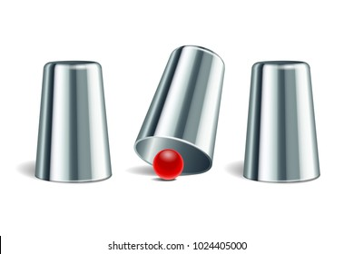 Shell game. Three shining silver metal thimbles and red ball. Equipment performance circus show. Chance and fortune concept. Vector illustration EPS 10