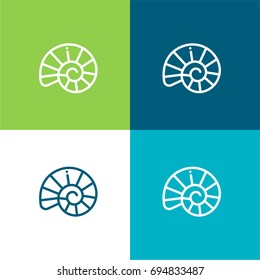 Shell green and blue material color minimal icon or logo design