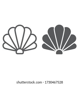Shell line and glyph icon, ocean and beach, seashell sign vector graphics, a linear icon on a white background, eps 10
