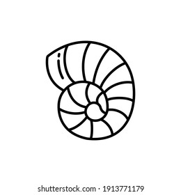 Shell Line Icon Isolated On White Background