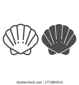 Shell line and solid icon, ocean concept, shellfish shell sign on white background, seashell icon in outline style for mobile concept and web design. Vector graphics