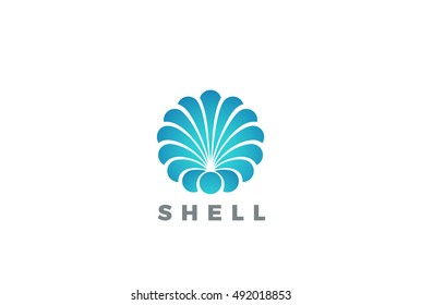 Shell Logo circle abstract design vector template.  Travel Seafood restaurant Jewelry Luxury Fashion Logotype concept icon.