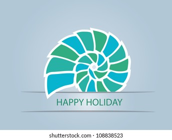 shell on blue background, vector illustration