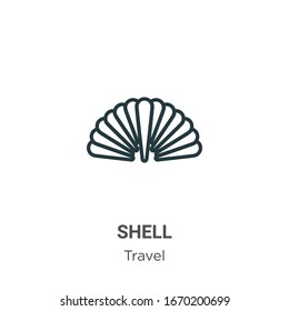 Shell outline vector icon. Thin line black shell icon, flat vector simple element illustration from editable travel concept isolated stroke on white background