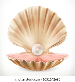 Shell with pearl. Clam, oyster 3d vector icon