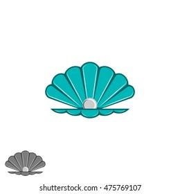 Shell pearl logo, open seashell with a pearl inside, cartoon design element, jewelry emblem mockup