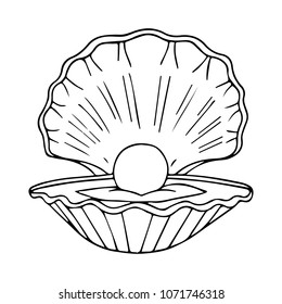 Shell with pearl vector illustration. For web design. Clam. Conch. Clean and minimalist symbol. Modern easy to edit logo template. Doodle style.