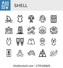 shell simple icons set. Contains such icons as Flippers, Shark, Swimsuit, Fossil, Beach, Airbed, Sand castle, Ammo, Shrimp, Oyster, Shell, can be used for web, mobile and logo