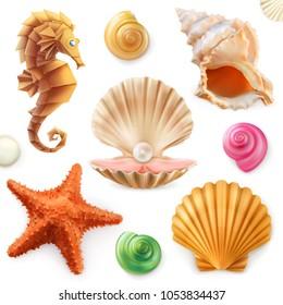Shell, snail, mollusk, starfish, sea horse. 3d vector icon set