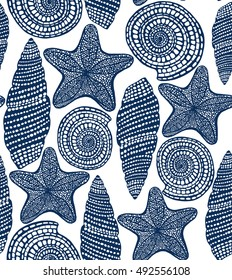 Shell and Starfish Seamless Pattern. Graphic Sea Background in Hand Drawn Style for Surface Design Banner Web. Vector Illustration