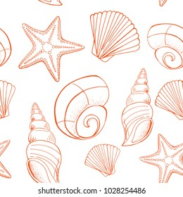 Shell and starfish seamless pattern. Sea background in hand drawn style. Vector illustration. eps10