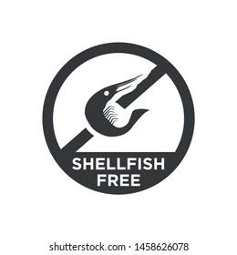 Shellfish free icon. Black and white Round icon.