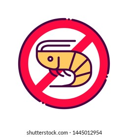 Shellfish free line color icon. Allergenic ingredient. Food intolerance. Sign for web page, mobile app, button, logo. Vector isolated element. Editable stroke.