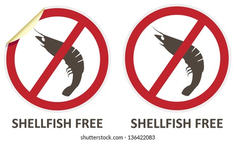 Shellfish free vector stickers and icons for allergen free products