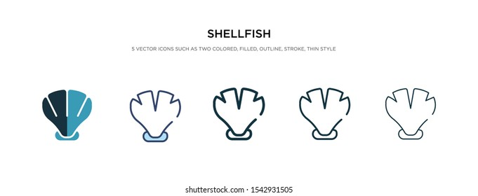 shellfish icon in different style vector illustration. two colored and black shellfish vector icons designed in filled, outline, line and stroke style can be used for web, mobile, ui