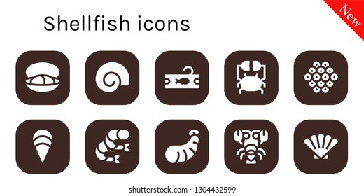 shellfish icon set. 10 filled shellfish icons.  Collection Of - Mussel, Shell, Tuna, Crab, Caviar, Clam, Shrimp, Lobster