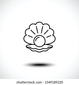 Shellfish outline icon or seashell with pearl line art icon isolated on white background. Vector illustration