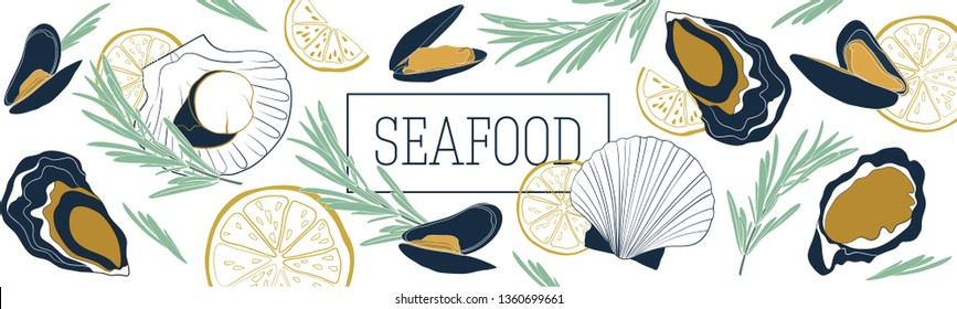 Shellfish and seafood restaurant or fishery product market banners template. Scallops, mussels and oysters banner vector template. Hand drawn illustration on white background.