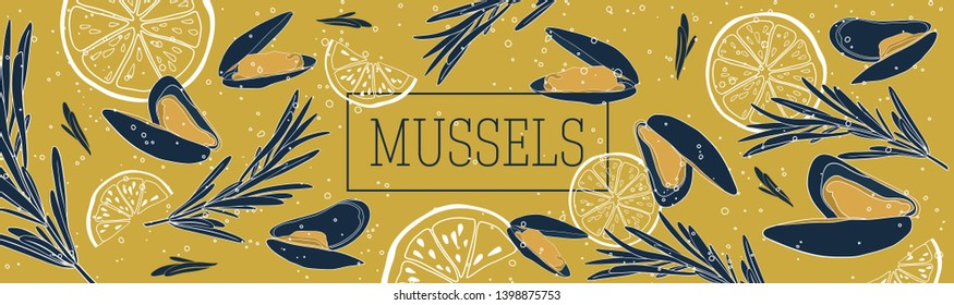 Shellfish and seafood restaurant or fishery product market banners template. Mussels among the bubbles banner vector template. Hand drawn illustration on mustard background.