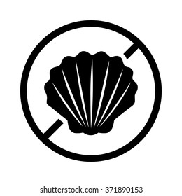 Shellfish or shell fish free food allergy product dietary label flat vector icon for apps and websites