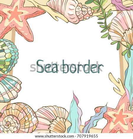Shells Border Happy Birthday Card Cartoon Stock Vector Royalty Free