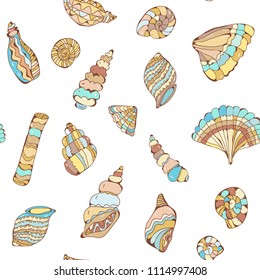 Shells colections seamles pattern in pastel colors, vector graphic illustration