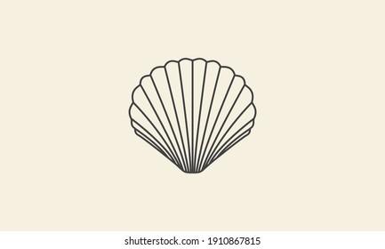 Shells line simple logo symbol icon vector graphic design illustration