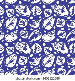 Shells and pebbles seamless vector pattern, can be used for fabric design, textile, flexographic printing.