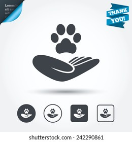 Shelter pets sign icon. Hand holds paw symbol. Animal protection. Circle and square buttons. Flat design set. Thank you ribbon. Vector
