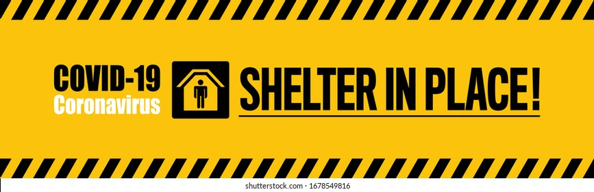 Shelter in place on yellow background