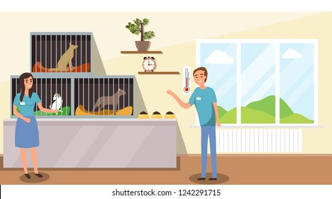 Shelter for stray dogs. A man and a woman work in a shelter for homeless animals. Cartoon illustration of an animal shelter.