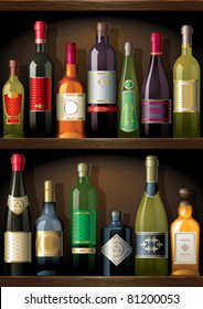 Shelves with alcohol