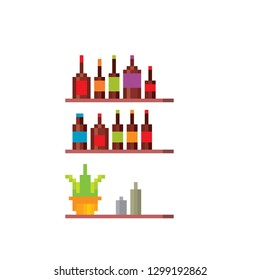 Shelves with alcohol. Element of the interior of a cafe, bar, restaurant. Pixel art. Old school computer graphic. 8 bit video game. Game assets 8-bit sprite.