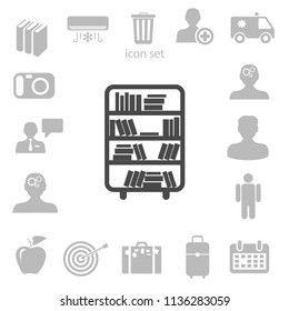 shelves with books vector illustration