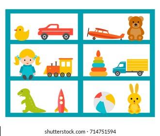 Shelves with children toys set, vector illustration. Kindergarten interior design element. Cabinet with different kids playthings.