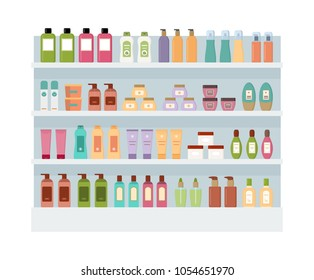 Shelves with lot of colorful cosmetic products. Large rack isolated on white background. Flat style vector illustration.