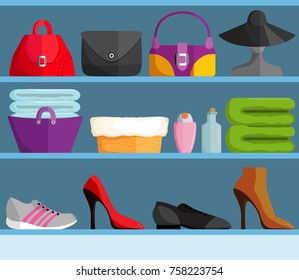 Shelves with female accessories