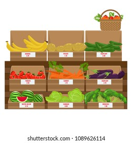 Shelves with fresh vegetable assortment. Wooden Grocery boxes. Illustrated vector. Flat color design.