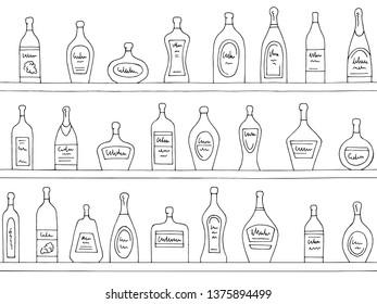 Shelves graphic black white seamless pattern background sketch illustration vector